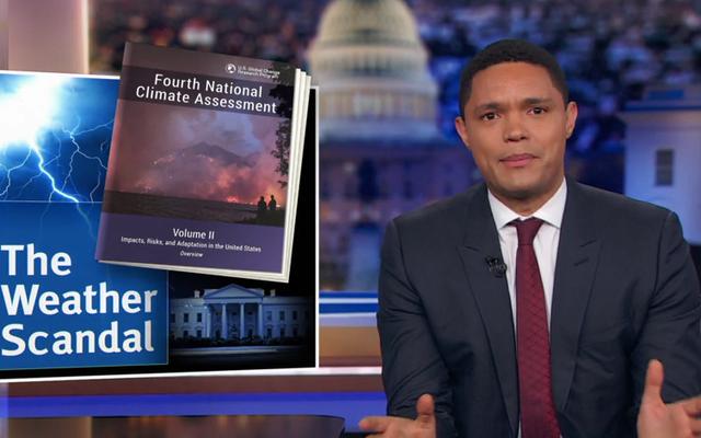トレバー・ノアがケーブルニュースで気候変動否定論者の台頭を嘲笑する