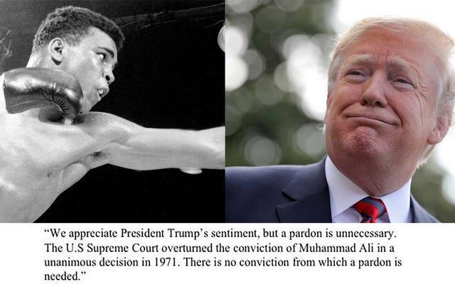 """Trump piensa """"muy en serio"""" sobre perdonar a Muhammad Ali, quien no tiene antecedentes penales"""