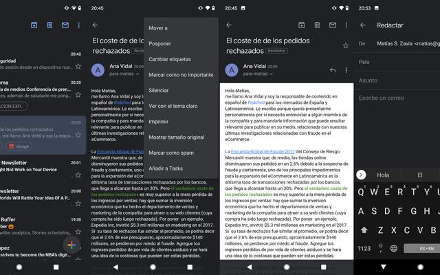 Как активировать темный режим в приложении Gmail