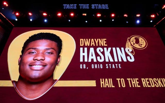 Dwayne Haskins di Washington ha predetto le eventuali esigenze di quarterbacking della sua nuova squadra quando ha scritto per il suo giornale del liceo