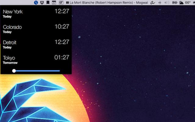 Clocker enregistre une horloge mondiale dans votre barre de menus