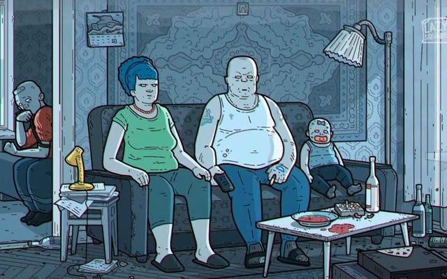 Das Intro von The Simpsons in russischer Fassung ist so dunkel und deprimierend, dass es in Kinderzeit nicht ausgestrahlt werden konnte