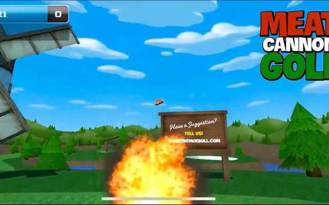 Sprengen Sie Schinken aus Artillerie-Waffen mit Meat Cannon Golf