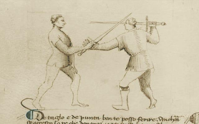 これは、2人のマスターが中世のフェンシングマニュアルに記録された致命的な動きを再現する方法です