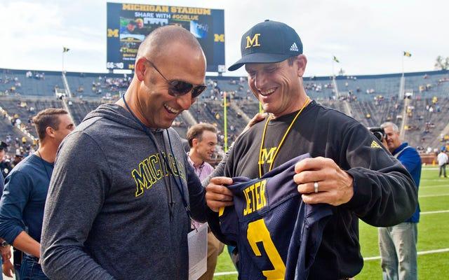 デレク・ジーターがミシガン大学の選手にスペルミスのあるシャツと手紙を送る