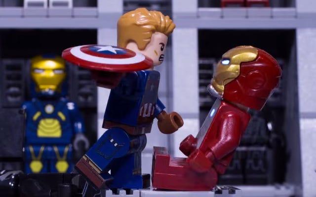 Lego Iron Man et Captain America ont une bataille de guerre civile pleine d'action