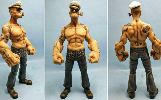 Patung Manusia Hidup Pada Sosok Popeye Ini Sangat Mengerikan
