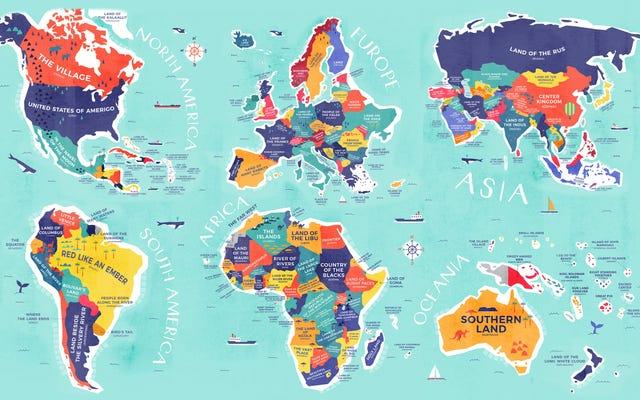 各国に名前を付ける代わりに、その名前の意味を示す地図