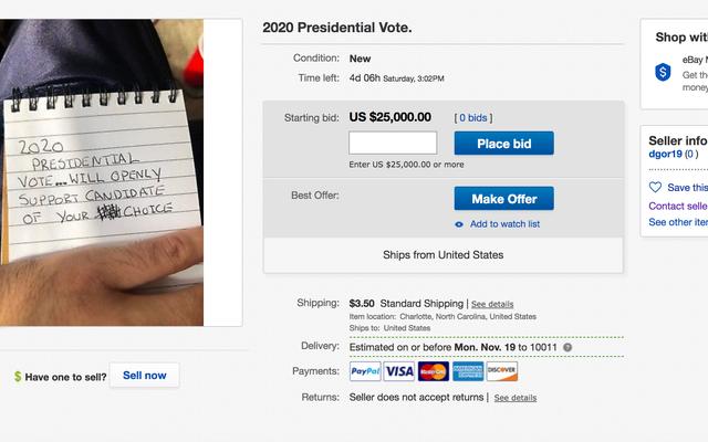 PSA:この人がしているようにeBayであなたの投票を売らないでください