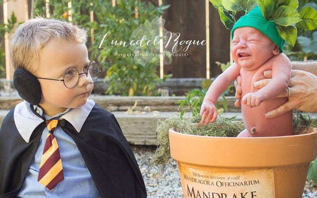 Te zdjęcia dzieci z motywem Harry'ego Pottera są na wpół urocze, na wpół przerażające