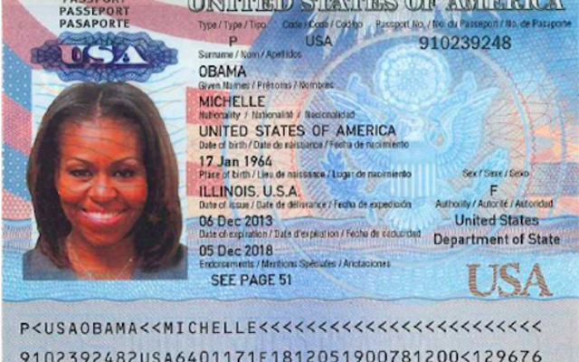 この漏洩したとされるミシェルオバマのパスポートは地獄のように偽物に見えます