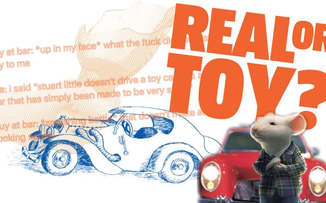 最後にこれの底に行きましょう:スチュアート・リトルはおもちゃの車を運転しますか、それともミニチュアの実際の車を運転しますか?