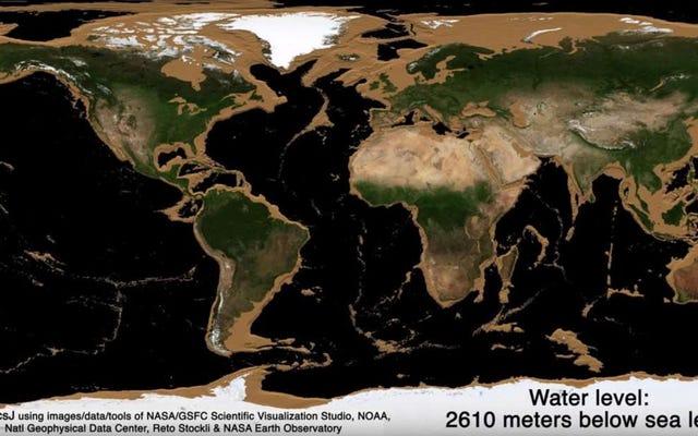 このアニメーションは、地球上の水面全体が消えた場合に表示されるものを示しています