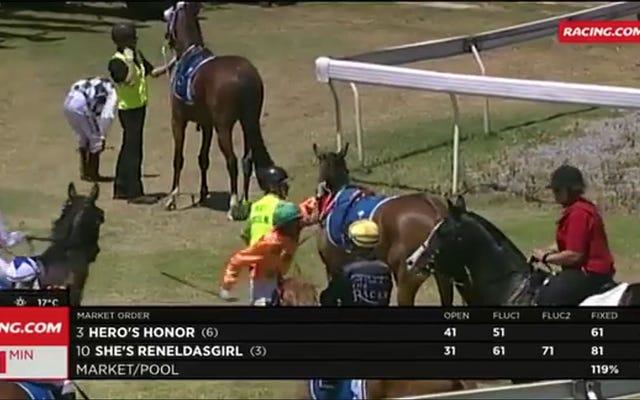 Жокей ударил лошадь и получил двухнедельную дисквалификацию