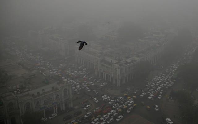 不穏な画像はデリーの極度の汚染緊急事態の範囲を示しています