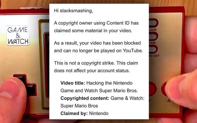 任天堂はゲーム&ウオッチのハッキングの動画で著作権を主張しています