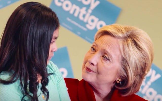 ヒラリー・クリントンがネバダ州のラテン系アメリカ人を涙目少女で狙う