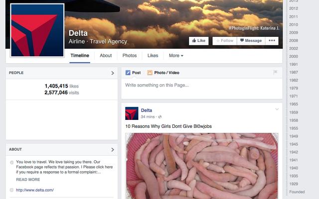 デルタのFacebookページは今Bl0wjobsについて話したいだけです