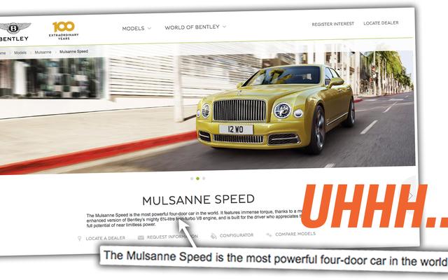 Bentley produce l'auto a quattro porte più potente del mondo? (No.)