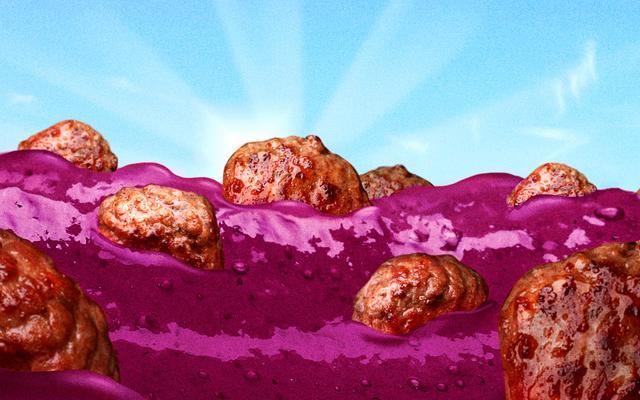 ぶどうゼリーミートボールパーティーがあり、みんな招待