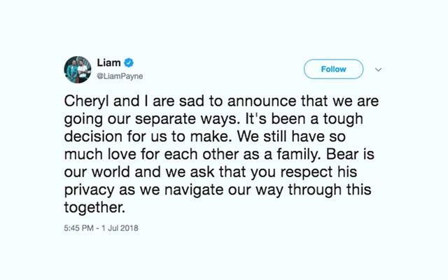 リアム・ペインとシェリル・トゥイーが2つの同一のTwitterステートメントで分割を発表