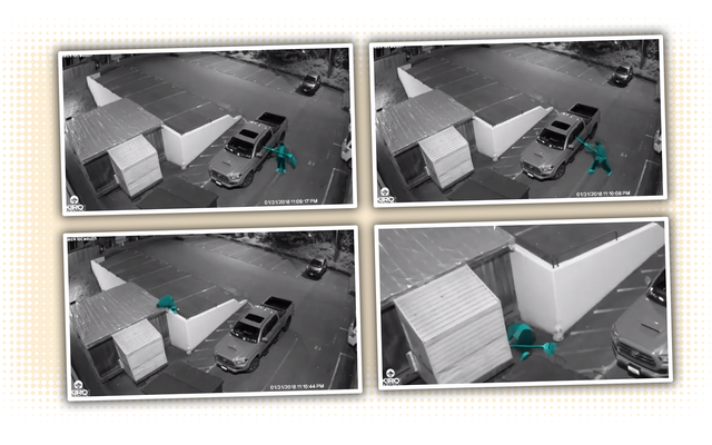 ラジオ局は、モップで従業員の車に侵入しようとしている馬鹿の実況を記録します