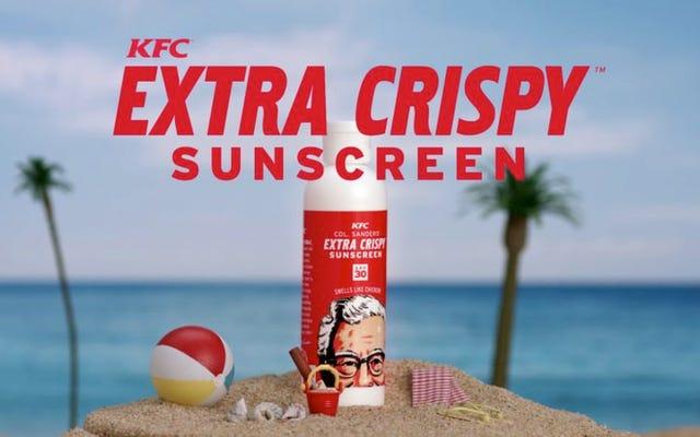 केएफसी की तली हुई चिकन-सुगंधित सनस्क्रीन के साथ खुद को चिकना करें