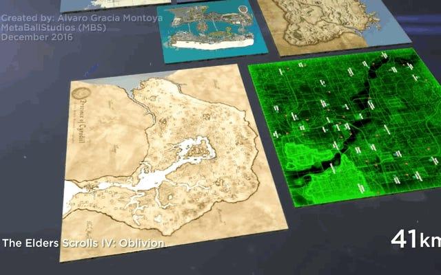 この壮大な3Dビデオは、ビデオゲームの古典の最大のマップの拡張を比較します