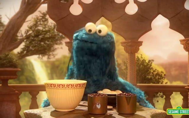 クッキーモンスターは、最新のバスタライムスのカバーでマッシュアップに飢えていることを示しています