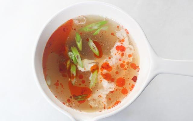 残り物の卵白とスープをまとめる