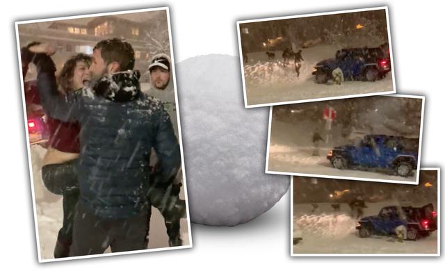 ロードレイジングジープドライバーがバットシットに行き、雪玉を投げる人々に蹂躙しようとするのを見てください