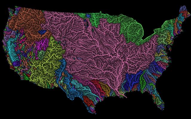 Карта бассейнов рек Америки показывает скрытую красоту нашей страны