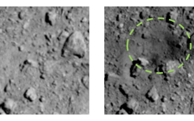 Nuove foto mostrano il cratere sorprendentemente grande esploso nell'asteroide Ryugu dalla sonda giapponese Hayabusa2