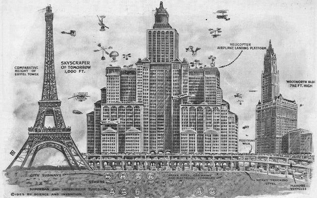 Футуристические небоскребы 1923 года должны были решить проблему дорожного движения, но в них явно не хватало Дуэйна Джонсона