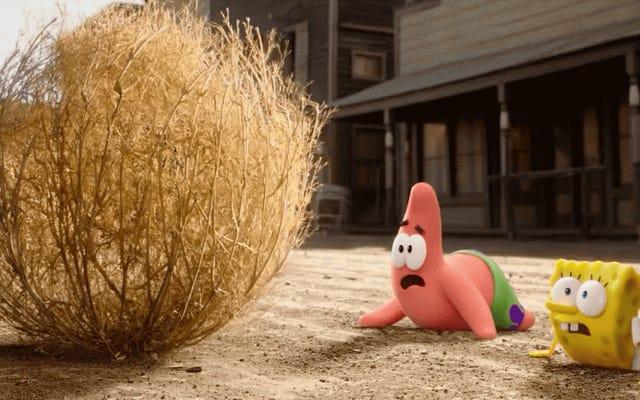 キアヌリーブスの頭は、新しいスポンジボブ映画の予告編のスターです