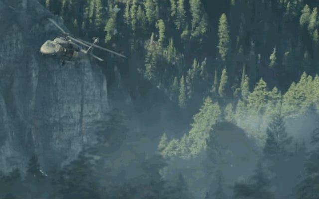 ランペイジの混沌とした最初の予告編でヘリコプターに乗った30フィートのオオカミの跳ね返りを見る