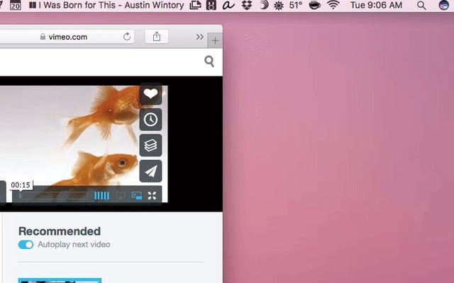 Di chuyển cửa sổ hình trong ảnh trên máy Mac của bạn ở bất kỳ đâu bằng cách giữ phím Command