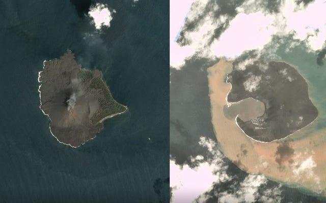 Gambar Satelit Menunjukkan Sisa-sisa Gunung Api Penyebab Tsunami di Indonesia yang Hancur