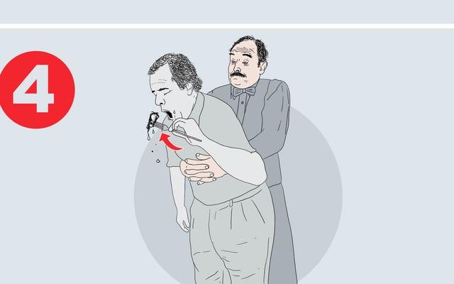 Il Dipartimento della Salute aggiunge passaggi al poster della manovra di Heimlich in cui la vittima soffocata finisce il cibo che ha tossito