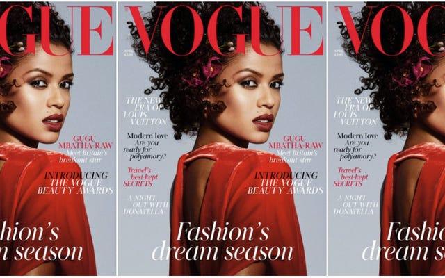 Gugu Mbatha-Raw agraciando esta capa gloriosa da Vogue britânica é a magnificência de Red-Velvet que precisamos