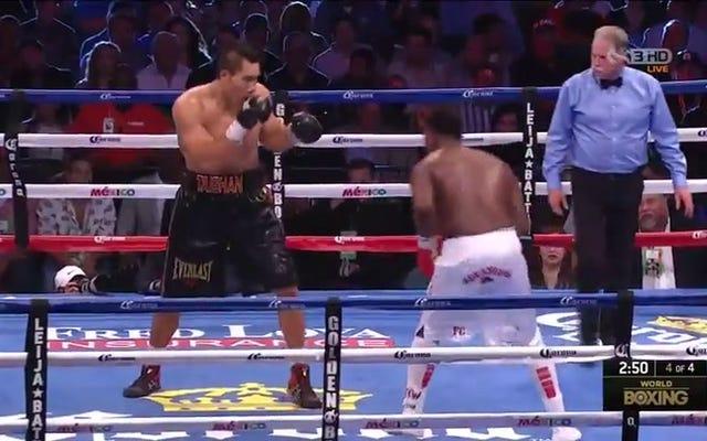 Śmiesznie wielki bokser pozostaje niepokonany