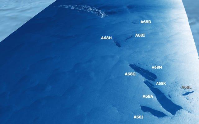 Una vez que fue el iceberg más grande del mundo, A68a es ahora un desastre hecho añicos