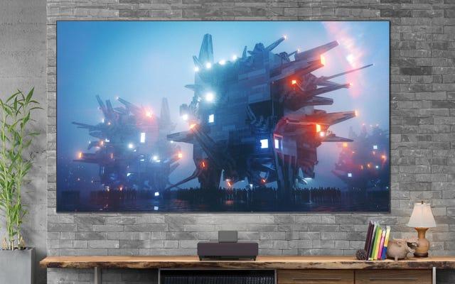 Le nouveau projecteur laser à courte focale d'Epson comprend un écran spécial pour rebondir sur l'éclairage au plafond