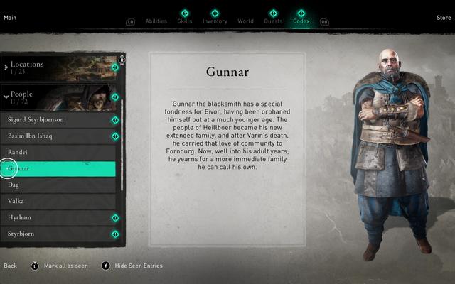 Realmente me gustan las pantallas de historia fácilmente legibles de Assassin's Creed Valhalla