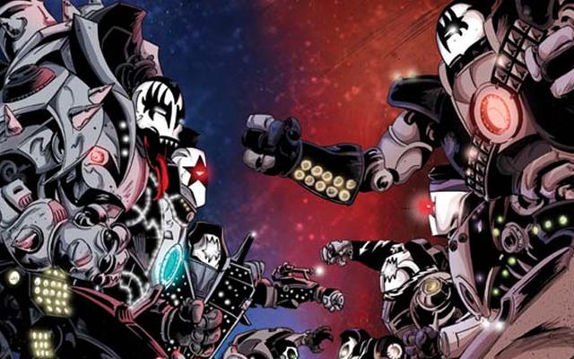KISS กลับมาสู่การ์ตูนสำหรับมหากาพย์ Scifi และใช่เหล่านี้เป็นหุ่นยนต์ KISS ขนาดยักษ์โดยสิ้นเชิง