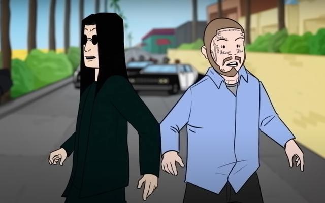 """कार्टून ओज़ी ऑज़बॉर्न और पोस्ट मेलोन """"इट्स ए रेड"""" म्यूजिक वीडियो में पुलिस से बचते हैं"""