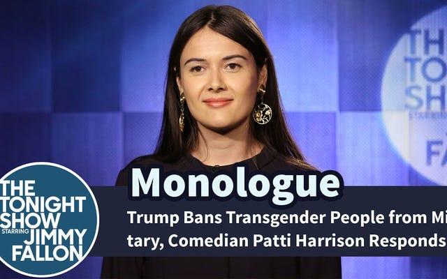 Komedyen Patti Harrison'ın Trump'ın Aptal Trans Askeri Yasağına Komik Bir Şekilde Yanıt Vermesini İzleyin