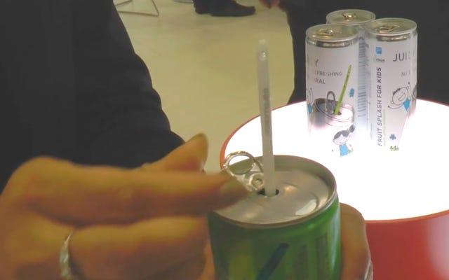 魔法の「自己活性化」ストローでこの缶をチェックしてください