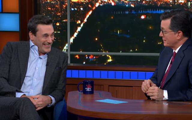 Jon Hamm parle à Stephen Colbert de l'écrasement accidentel de l'afterparty SNL de Trump