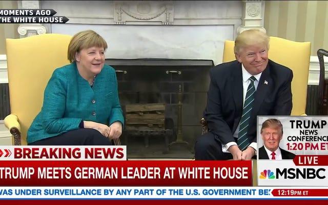 Este intercambio entre Donald Trump y Angela Merkel me hace querer esconderme en un armario oscuro